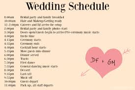 wedding ceremony timeline wedding timeline template day diy wedding 1902