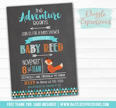 baby shower chalkboard printable tribal fox chalkboard baby shower invitation the
