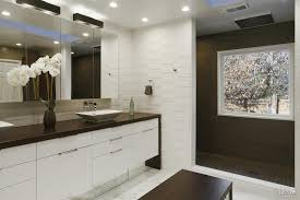 Modern White Bathrooms by Modern White Bathroom With Textured Tiles Shower Zone And Central