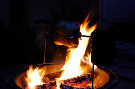 Fire Pit Rotisserie by Fire Pit Barbecue Cooking