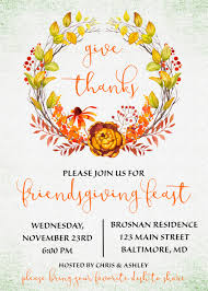 friendsgiving invitation friendsgiving potluck give thanks