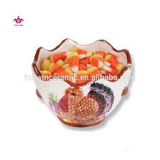 thanksgiving turkey decoration ceramic thanksgiving candy dish bowl with turkey