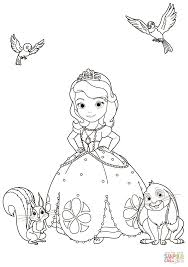sofia with animals coloring page free printable coloring pages