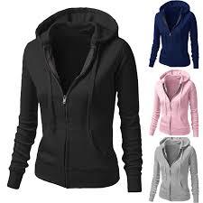 womens la s plain girls pocket hoody zip up tops girls
