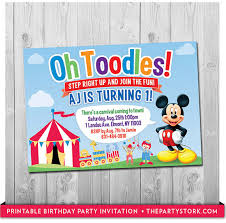 mickey mouse birthday invitation carnival or circus party
