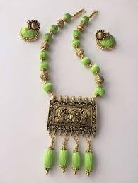 antique necklace pendant images Silk thread antique pendant necklace in parrot green color silk jpg