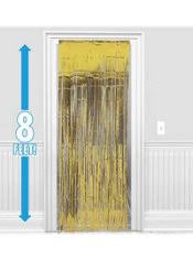 Gold Foil Curtain by Gold Fringe Doorway Curtain 3ft X 8ft Party City