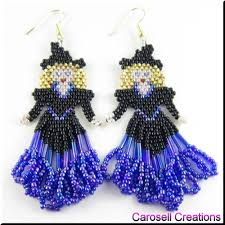 halloween glass beads halloween witch seed bead holiday earrings glinda the good witch