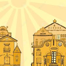 cute houses colorful hand drawn european city street with cute houses vector