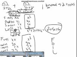 foil method to multiply binomials example practice problem and