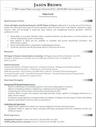 sample resume for financial analyst entry level senior financial