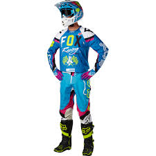 fox motocross apparel fox racing 2017 mx new 360 rohr teal flo yellow jersey pants