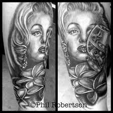 marilyn monroe skull portrait by phil robertson tattoonow
