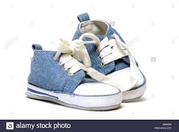 Small Tiny Blue Isolated Fashion Closeup New Shoes Youth Small Tiny Little