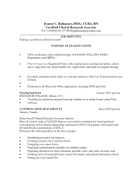 Sample Cra Resume by Clinical Research Nurse Cover Letter