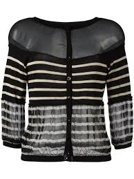 jean paul gaultier vintage sheer panel striped cardigan women