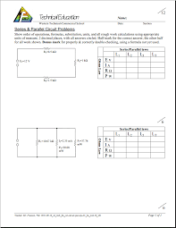 Parallel Circuit Problems Worksheet Unit 3 Computer Technology Electrical And Digital Circuits