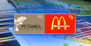 mcdonalds e gift card mcdonald s pf chang s printable e gift cards loot palace