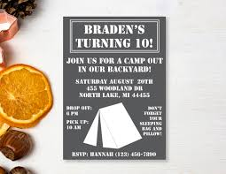 campout invitation camping party camp out backyard campout