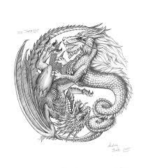 Schlafzimmer Yin Yang Illustration Bleistiftzeichnung Yin Yang Drachen Dragons