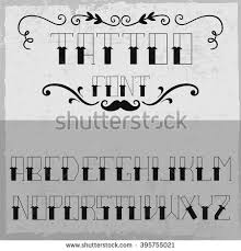 handcrafted tattoo font decoration mustache vintage stock vector