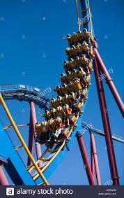 six flags magic mountain scream rollercoaster six flags magic mountain rides valencia stock