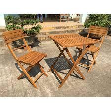 exaco 3 piece wood patio balcony bistro set hayneedle