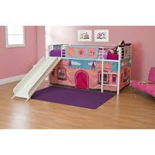 Bunk Bed With Slide And Tent Princess Castle Junior Loft With Slide White Walmart