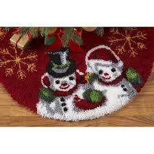 craftways vintage snowman tree skirt latch hook kit