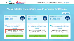 costco life insurance sample rates
