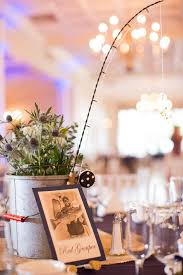 themed centerpieces for weddings fishing minnow centerpiece with miniature pole my