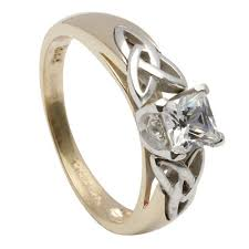 celtic engagement rings princess cut celtic engagement ring with inset knots