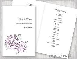 wedding ceremony booklet wedding program template amethyst purple and green peony