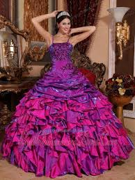 fuchsia quinceanera dresses straps gown satin embroidery with beading quinceanera dress
