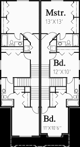Jack And Jill Floor Plans Narrow Duplex House Plans Row House Plans Jack U0026 Jill D 454