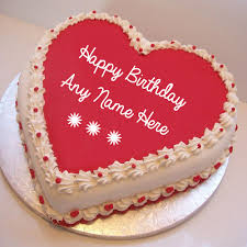 special birthday cake write name on pink heart birthday wishes cake image