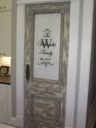 Distressed Wood Home Decor Sliding Glass Door With White Wooden Frame Combined Brown Drapery