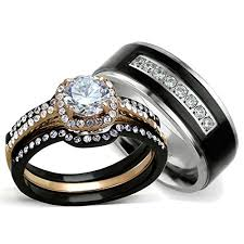 black wedding rings his and hers his and hers wedding ring sets women s halo design
