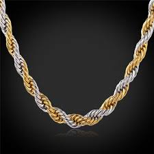 rope necklace designs images Gold color rope chains for men 2 tone necklace trendy men jewelry jpg