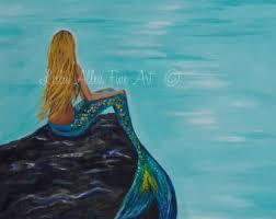mermaid art print mermaid mother baby mermaid wall art baby