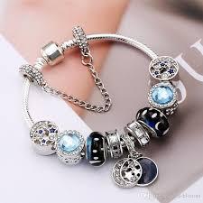 pandora beaded bracelet images Blue pandora charm glass moon star crystal beads charms rhinestone jpg