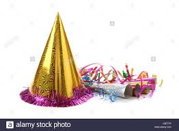 new years streamers new year s party hat and noisemaker with streamers stock photo