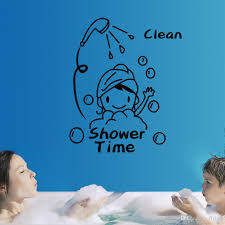 shower time bathroom wall decor stickers lovely child removable color black package wall sticker plus transfer film style classical art lettering stickers usage cor decals murals for