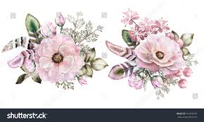 floral bouquets set watercolor vintage floral bouquets boho stock illustration