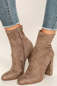 steve madden edit vegan suede booties high heel boots mid