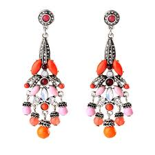 Glass Crystal Chandelier Drops Larissa Chandelier Drops Pink And Coral Statement Earrings By