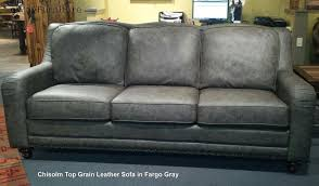 Living Room Chairs Made In Usa Chisolm Top Grain Leather Sofa In Fargo Gray Made In Usa