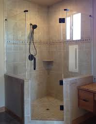 frameless neo angle shower door glass accents