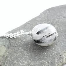 black white crystal necklace images Tourmalinated quartz pendant black white crystal jewelry jpg