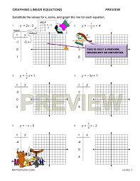 graphing linear equations using a table worksheet